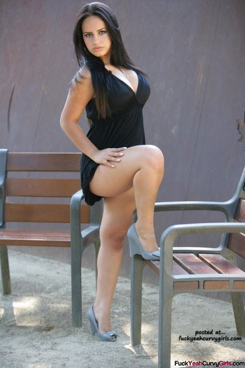 Sexy Curvy Girl With Thick Legs In A Short Dress